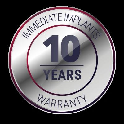 10 Years Warranty - Immediate Implants